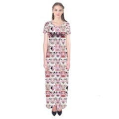 Graphic Seamless Pattern Pig Short Sleeve Maxi Dress