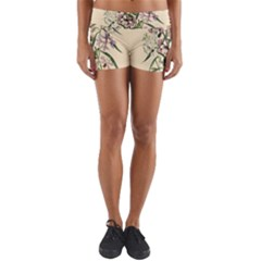 Botanical Print Antique Natural Yoga Shorts