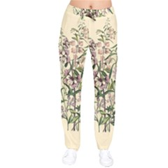 Botanical Print Antique Natural Velvet Drawstring Pants