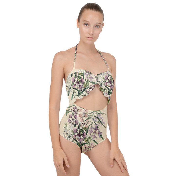Botanical Print Antique Natural Scallop Top Cut Out Swimsuit