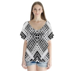 Pattern Tile Repeating Geometric V Neck Flutter Sleeve Top