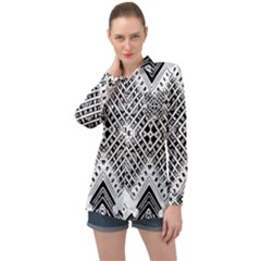Pattern Tile Repeating Geometric Long Sleeve Satin Shirt