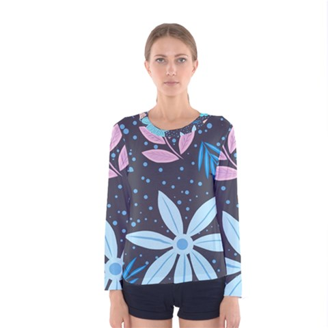 Pattern Nature Color Banner Modern Women s Long Sleeve Tee by Pakrebo