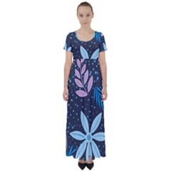 Pattern Nature Color Banner Modern High Waist Short Sleeve Maxi Dress by Pakrebo