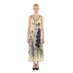 Botanical Print Antique Floral Sleeveless Maxi Dress by Pakrebo
