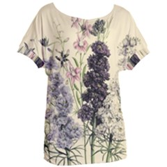 Botanical Print Antique Floral Women s Oversized Tee