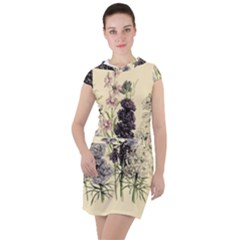 Botanical Print Antique Floral Drawstring Hooded Dress by Pakrebo
