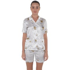 Pattern Design Nature Art Drawing Satin Short Sleeve Pyjamas Set