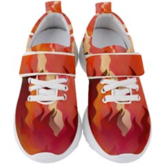 Fire Abstract Cartoon Red Hot Kids  Velcro Strap Shoes by Pakrebo