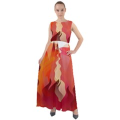 Fire Abstract Cartoon Red Hot Chiffon Mesh Maxi Dress