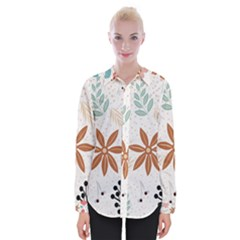 Nature Shape Leaves Flowers Art Womens Long Sleeve Shirt