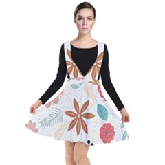 Nature Shape Leaves Flowers Art Plunge Pinafore Dress by Pakrebo