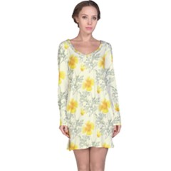 Floral Background Scrapbooking Yellow Long Sleeve Nightdress