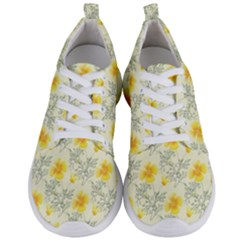 Floral Background Scrapbooking Yellow Men s Lightweight Sports Shoes