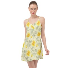 Floral Background Scrapbooking Yellow Summer Time Chiffon Dress