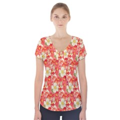 Background Images Floral Pattern Red White Short Sleeve Front Detail Top