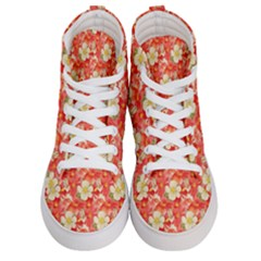 Background Images Floral Pattern Red White Women s Hi Top Skate Sneakers