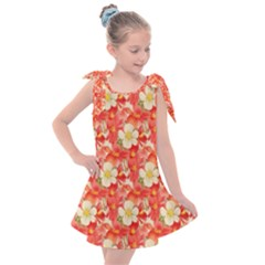 Background Images Floral Pattern Red White Kids  Tie Up Tunic Dress