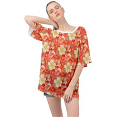 Background Images Floral Pattern Red White Oversized Chiffon Top