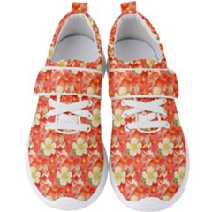 Background Images Floral Pattern Red White Men s Velcro Strap Shoes by Pakrebo