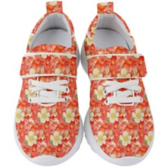 Background Images Floral Pattern Red White Kids  Velcro Strap Shoes