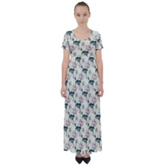 Floral Pattern Scrapbook Seamless High Waist Short Sleeve Maxi Dress by Pakrebo
