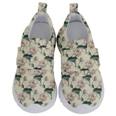 Floral Pattern Scrapbook Seamless Kids  Velcro No Lace Shoes
