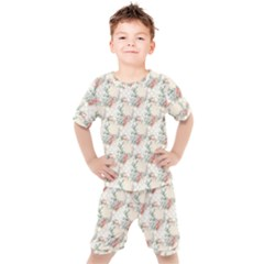 Floral Pattern Scrapbook Decorative Kids  Tee And Shorts Set by Pakrebo