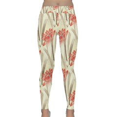 Flower Flora Leaf Wallpaper Classic Yoga Leggings by Pakrebo