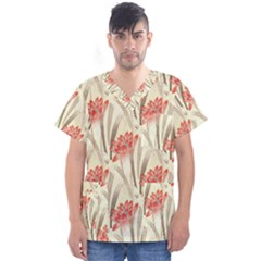 Flower Flora Leaf Wallpaper Men s V Neck Scrub Top