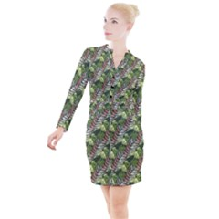 Leaves Seamless Pattern Design Button Long Sleeve Dress
