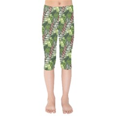 Leaves Seamless Pattern Design Kids  Capri Leggings  by Pakrebo