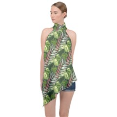Leaves Seamless Pattern Design Halter Asymmetric Satin Top by Pakrebo