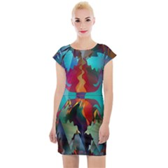 Background Sci Fi Fantasy Colorful Cap Sleeve Bodycon Dress
