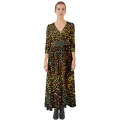 Flames Pattern Texture Gold Button Up Boho Maxi Dress