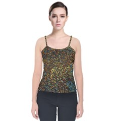 Flames Pattern Texture Gold Velvet Spaghetti Strap Top
