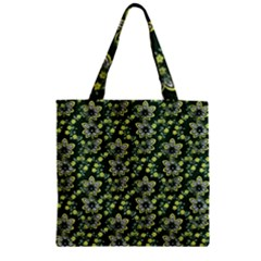 Abstract Pattern Flower Leaf Zipper Grocery Tote Bag