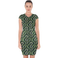 Abstract Pattern Flower Leaf Capsleeve Drawstring Dress