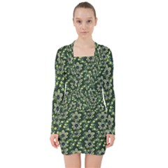 Abstract Pattern Flower Leaf V Neck Bodycon Long Sleeve Dress