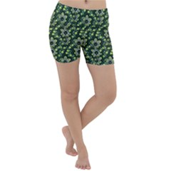 Abstract Pattern Flower Leaf Lightweight Velour Yoga Shorts by Pakrebo