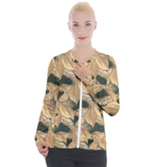 Scrapbook Leaves Decorative Casual Zip Up Jacket