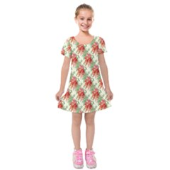Seamless Background Vintage Kids  Short Sleeve Velvet Dress