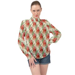 Seamless Background Vintage High Neck Long Sleeve Chiffon Top
