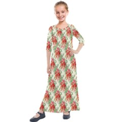 Seamless Background Vintage Kids  Quarter Sleeve Maxi Dress