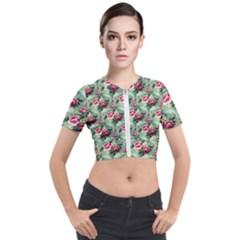 Floral Pattern Ornate Decorative Short Sleeve Cropped Jacket by Pakrebo