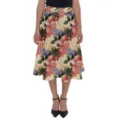 Flower Floral Decoration Pattern Perfect Length Midi Skirt
