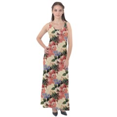 Flower Floral Decoration Pattern Sleeveless Velour Maxi Dress