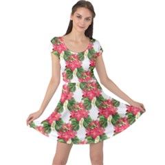 Floral Seamless Decorative Spring Cap Sleeve Dress