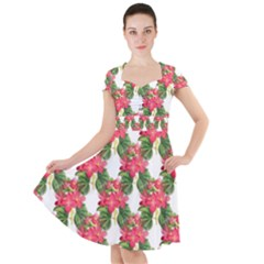 Floral Seamless Decorative Spring Cap Sleeve Midi Dress