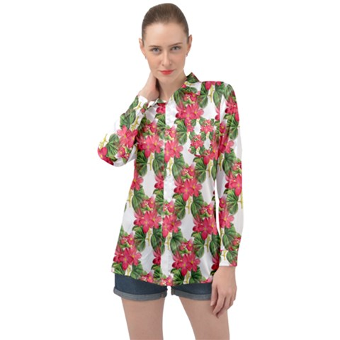 Floral Seamless Decorative Spring Long Sleeve Satin Shirt by Pakrebo